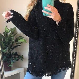Rafaella Vintage Speckled Cowl Neck Fringe Sweater